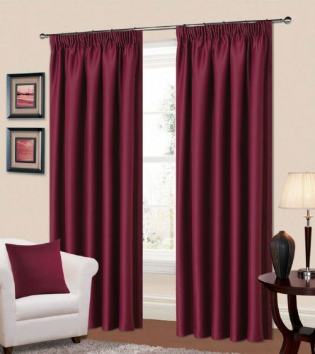 PLAIN PLUM COLOUR THERMAL BLACKOUT READYMADE BEDROOM LIVINGROOM CURTAINS PENCIL PLEAT